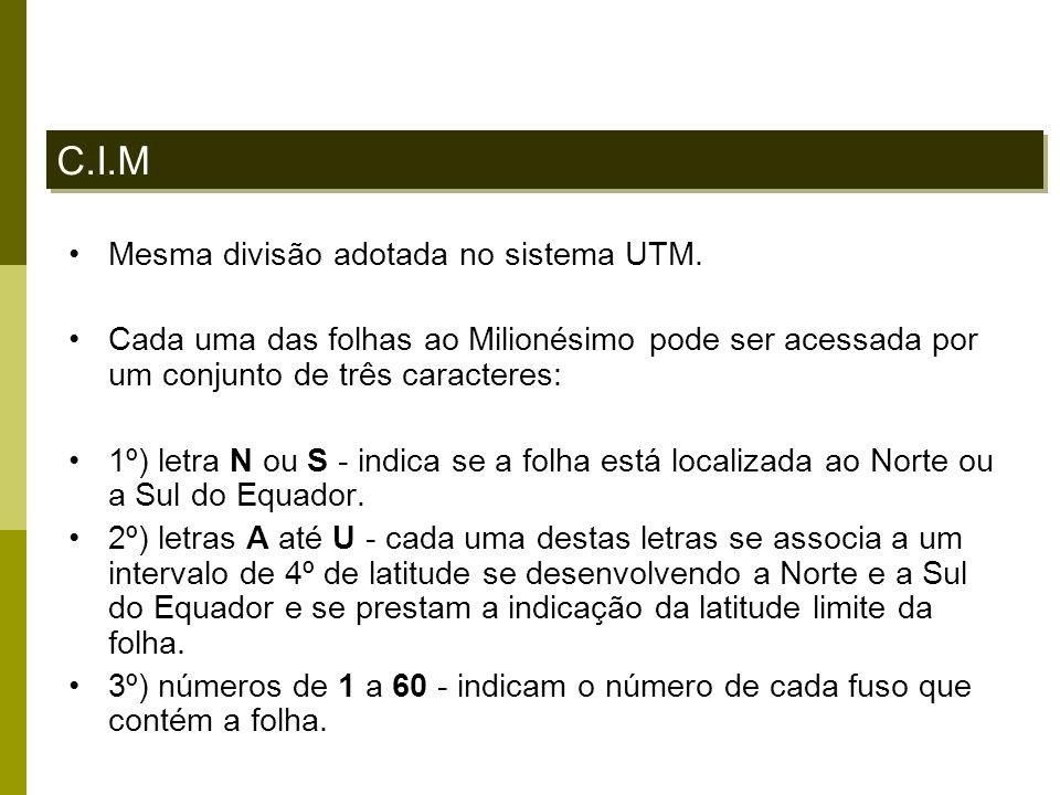 C.I.M Mesma divisão adotada no sistema UTM.