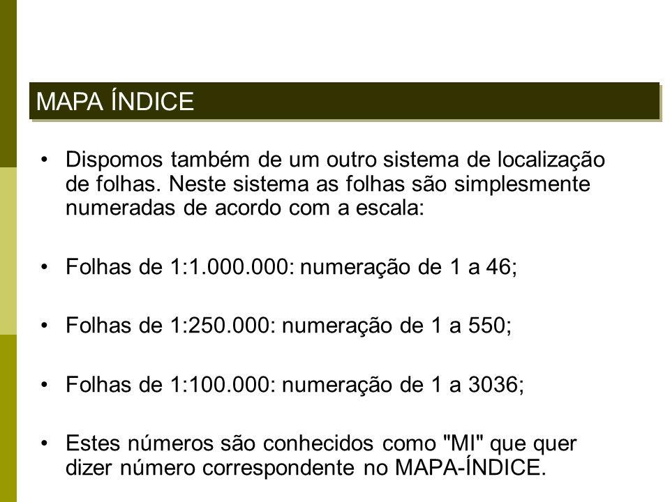 MAPA ÍNDICE Dispomos também de um outro sistema de localização de folhas. Neste sistema as folhas são simplesmente numeradas de acordo com a escala: