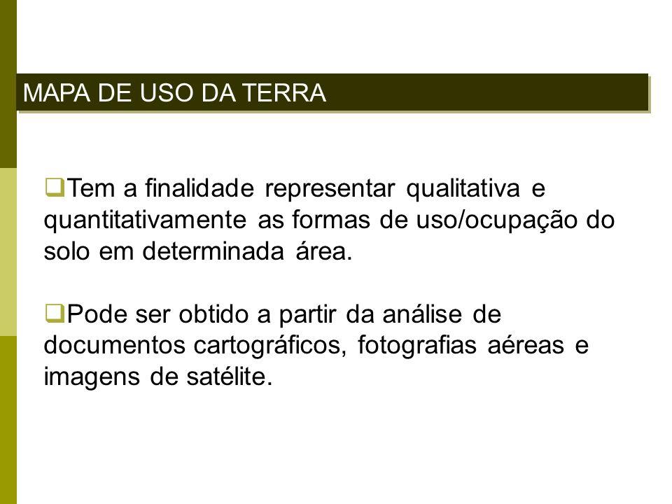 MAPA DE USO DA TERRA Tem a finalidade representar qualitativa e quantitativamente as formas de uso/ocupação do solo em determinada área.