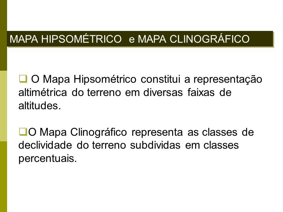 MAPA HIPSOMÉTRICO e MAPA CLINOGRÁFICO