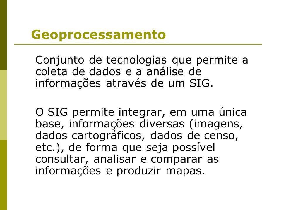 Geoprocessamento Conjunto de tecnologias que permite a coleta de dados e a análise de informações através de um SIG.