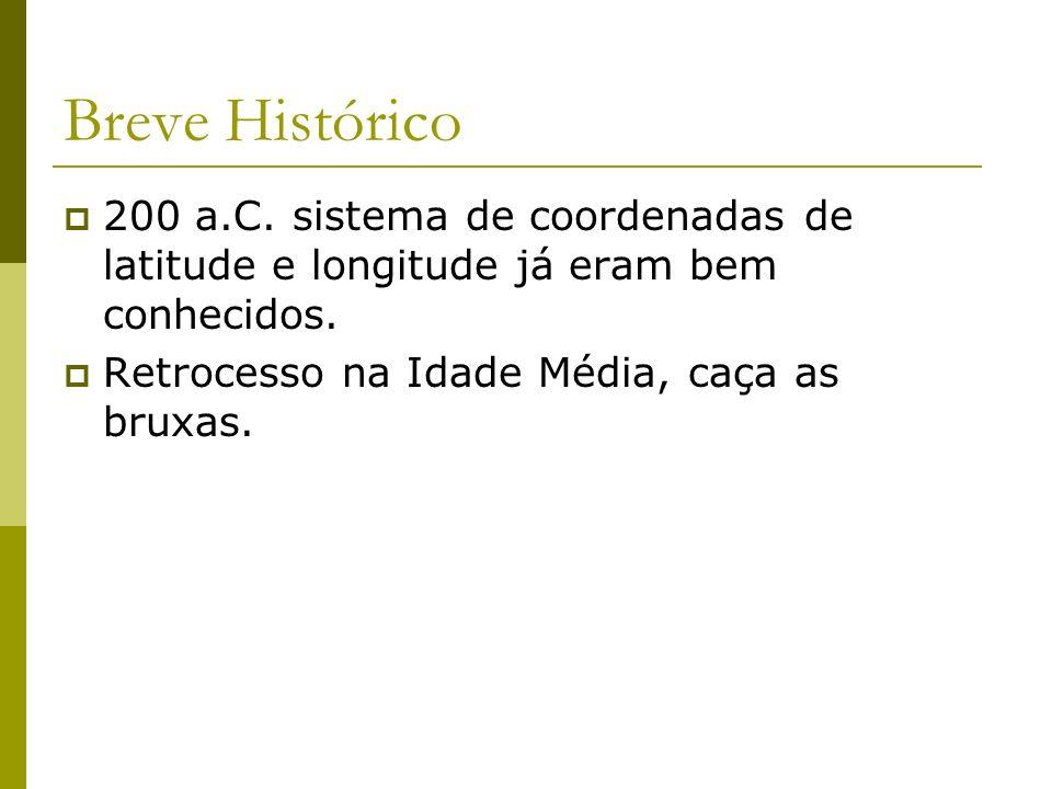 Breve Histórico 200 a.C. sistema de coordenadas de latitude e longitude já eram bem conhecidos.
