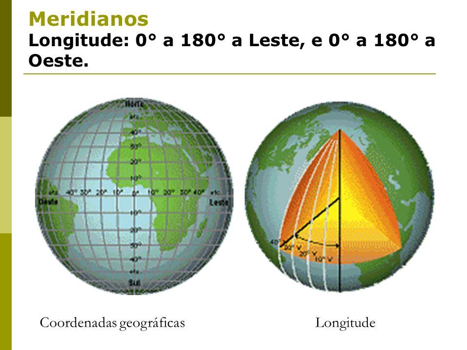 Meridianos Longitude: 0° a 180° a Leste, e 0° a 180° a Oeste.