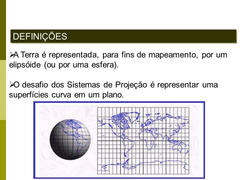 DEFINIÇÕES A Terra é representada, para fins de mapeamento, por um elipsóide (ou por uma esfera).