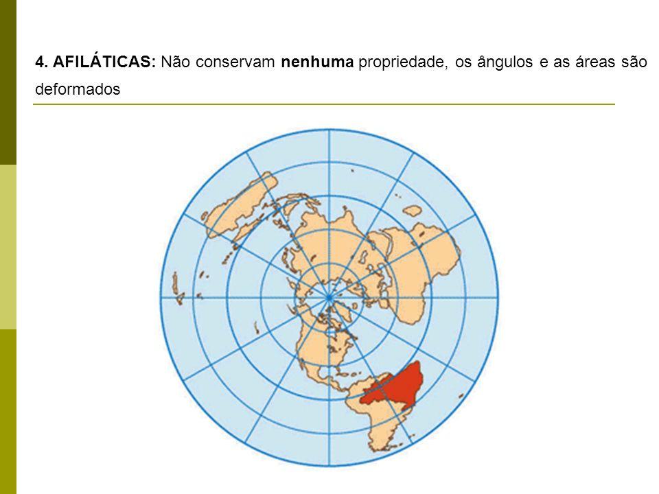 4. AFILÁTICAS: Não conservam nenhuma propriedade, os ângulos e as áreas são