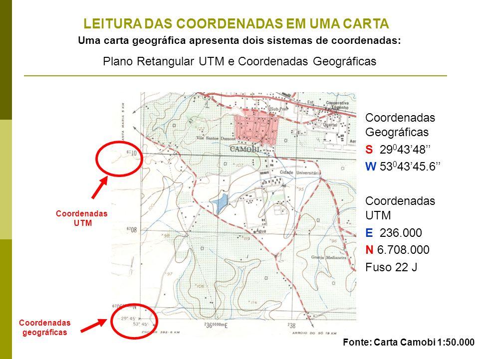Uma carta geográfica apresenta dois sistemas de coordenadas: