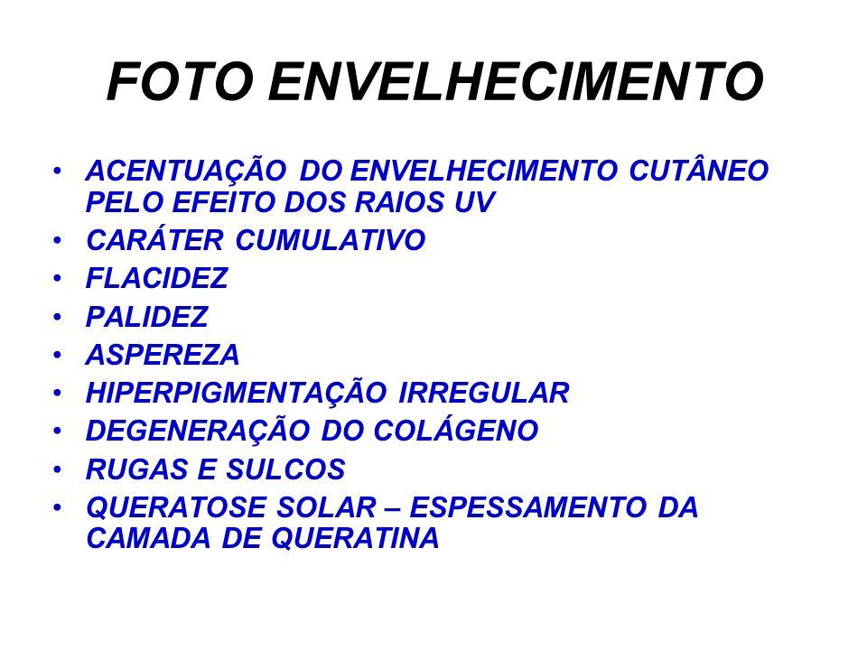 FOTO ENVELHECIMENTO ACENTUAÇÃO DO ENVELHECIMENTO CUTÂNEO PELO EFEITO DOS RAIOS UV. CARÁTER CUMULATIVO.