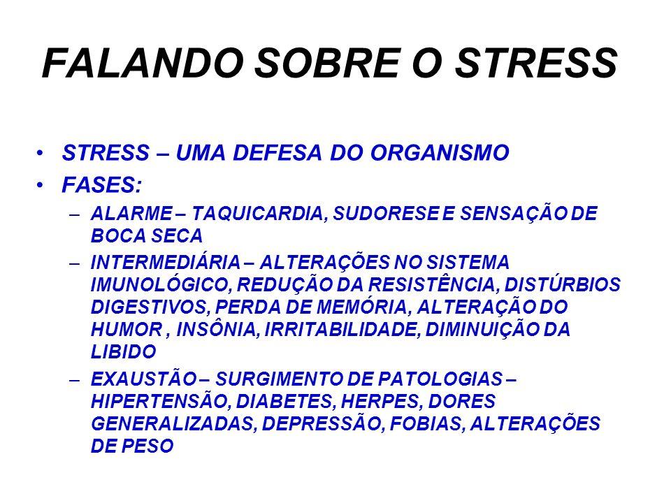 FALANDO SOBRE O STRESS STRESS – UMA DEFESA DO ORGANISMO FASES: