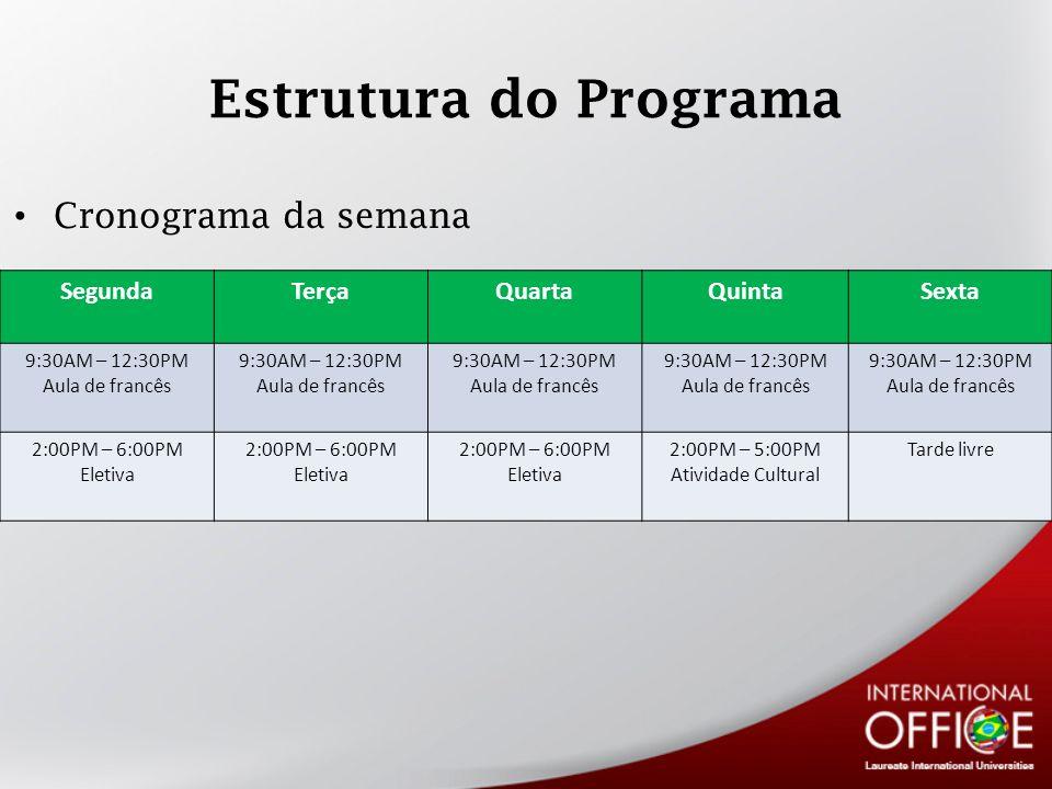 Estrutura do Programa Cronograma da semana Segunda Terça Quarta Quinta