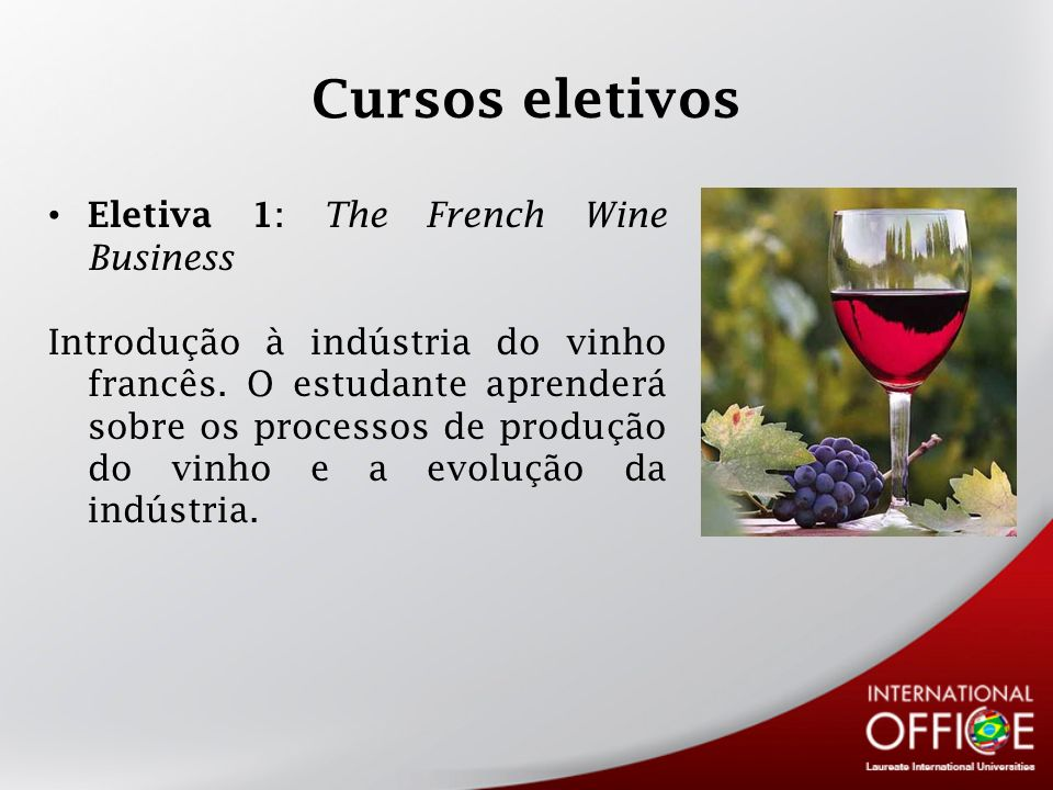 Cursos eletivos Eletiva 1: The French Wine Business