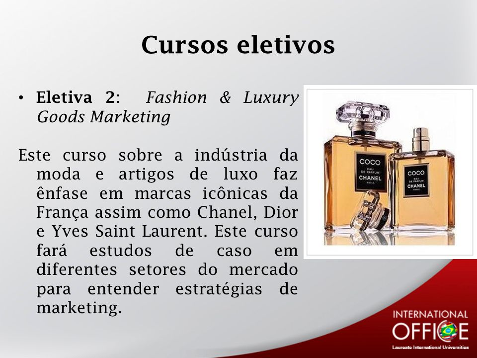 Cursos eletivos Eletiva 2: Fashion & Luxury Goods Marketing