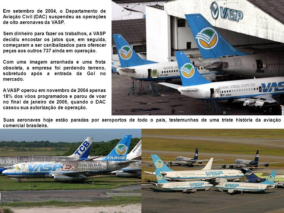 Em setembro de 2004, o Departamento de Aviação Civil (DAC) suspendeu as operações de oito aeronaves da VASP.