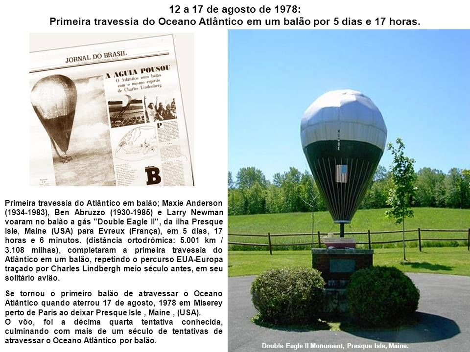 12 a 17 de agosto de 1978: Primeira travessia do Oceano Atlântico em um balão por 5 dias e 17 horas.