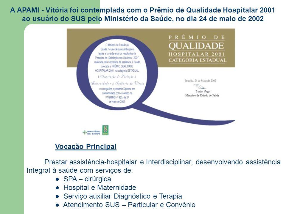 A APAMI - Vitória foi contemplada com o Prêmio de Qualidade Hospitalar 2001