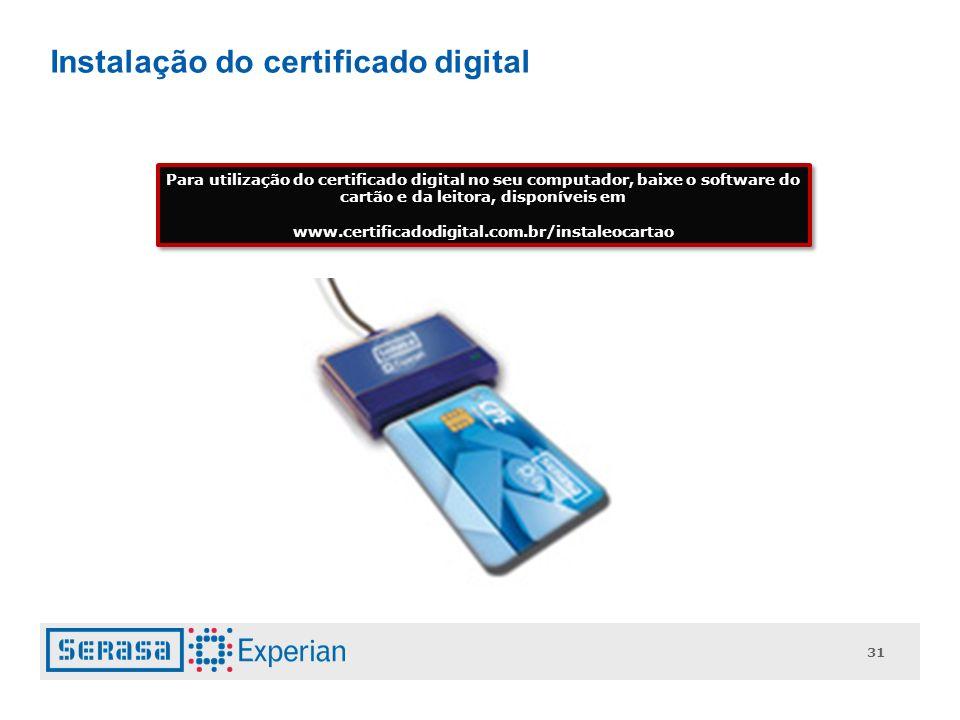 Instalação do certificado digital