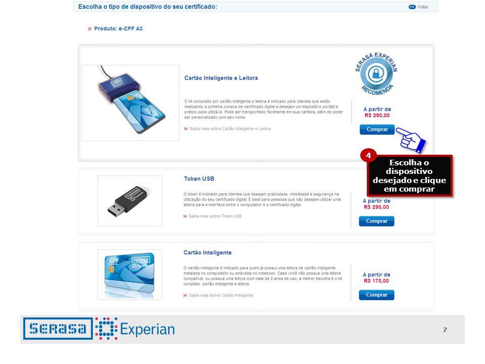 Escolha o dispositivo desejado e clique em comprar