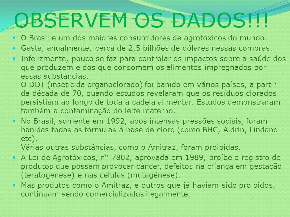 OBSERVEM OS DADOS!!! O Brasil é um dos maiores consumidores de agrotóxicos do mundo.