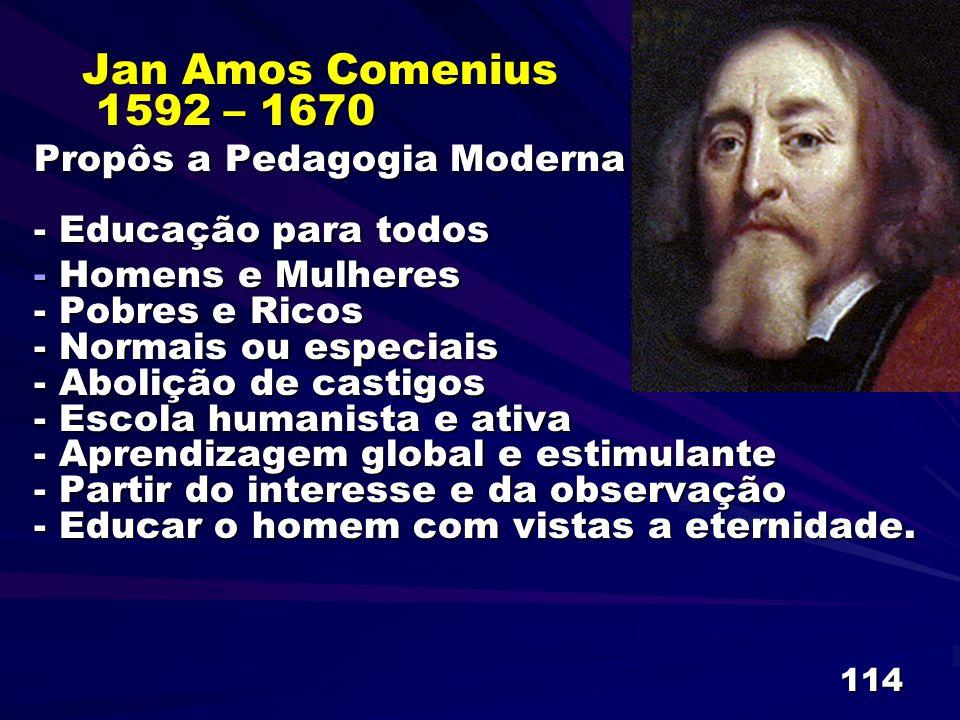 Jan Amos Comenius 1592 – 1670 Propôs a Pedagogia Moderna - Educação para todos.