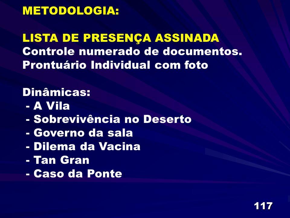 METODOLOGIA: LISTA DE PRESENÇA ASSINADA Controle numerado de documentos.