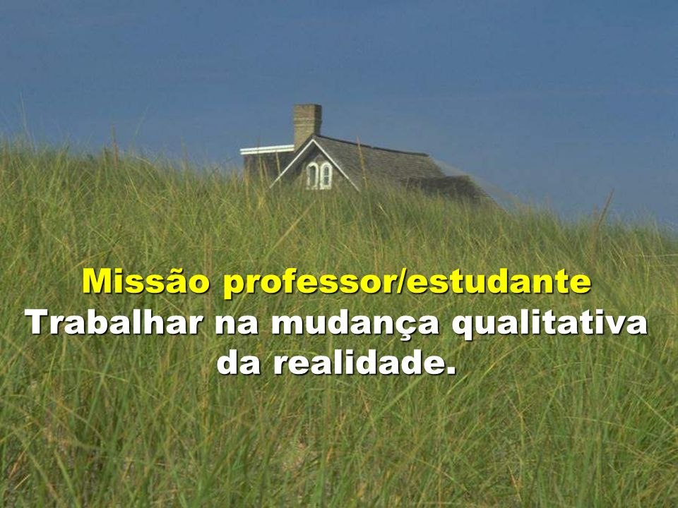 Missão professor/estudante Trabalhar na mudança qualitativa da realidade.