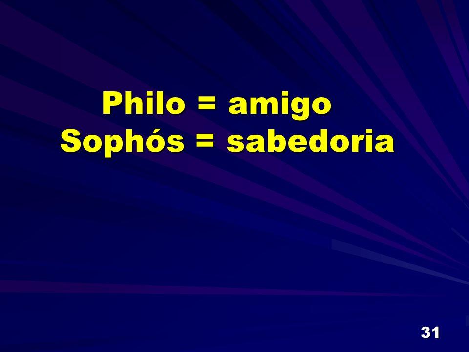 Philo = amigo Sophós = sabedoria