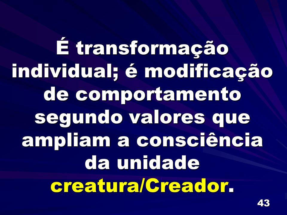 É transformação individual; é modificação de comportamento segundo valores que ampliam a consciência da unidade creatura/Creador.