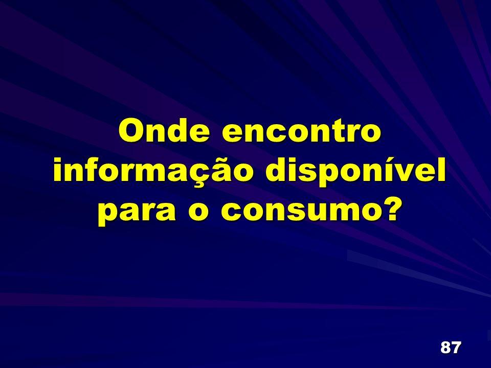 Onde encontro informação disponível para o consumo