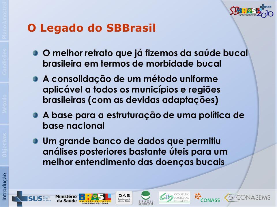 Plano Amostral O Legado do SBBrasil. Condições. O melhor retrato que já fizemos da saúde bucal brasileira em termos de morbidade bucal.