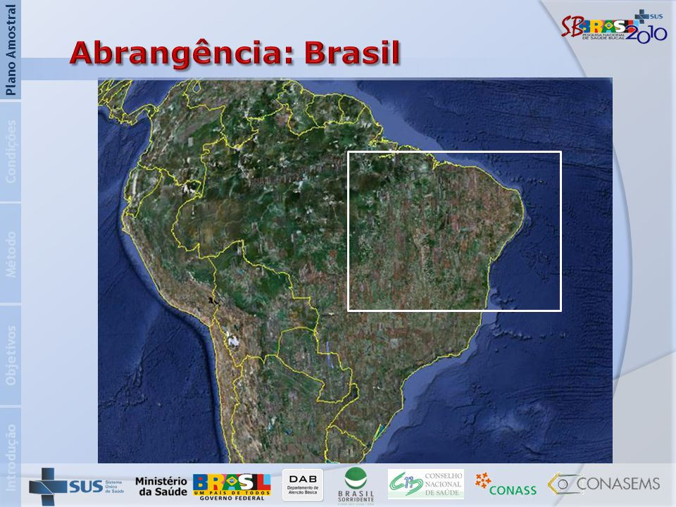 Abrangência: Brasil Plano Amostral Condições Método Objetivos