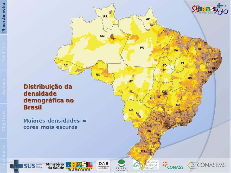 Distribuição da densidade demográfica no Brasil