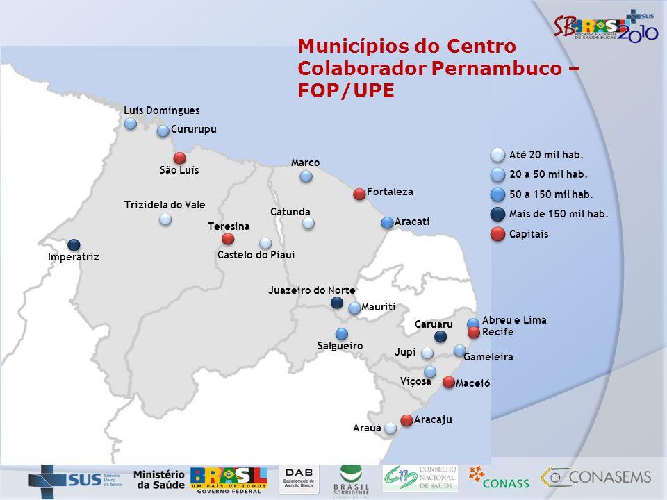 Municípios do Centro Colaborador Pernambuco – FOP/UPE