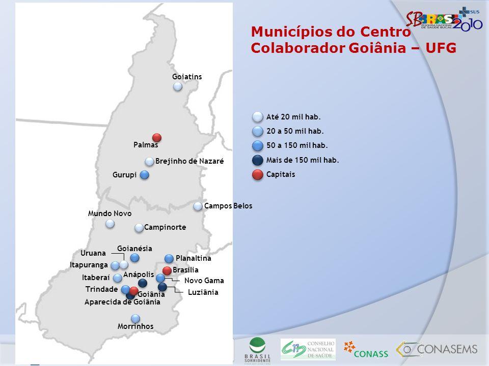 Municípios do Centro Colaborador Goiânia – UFG