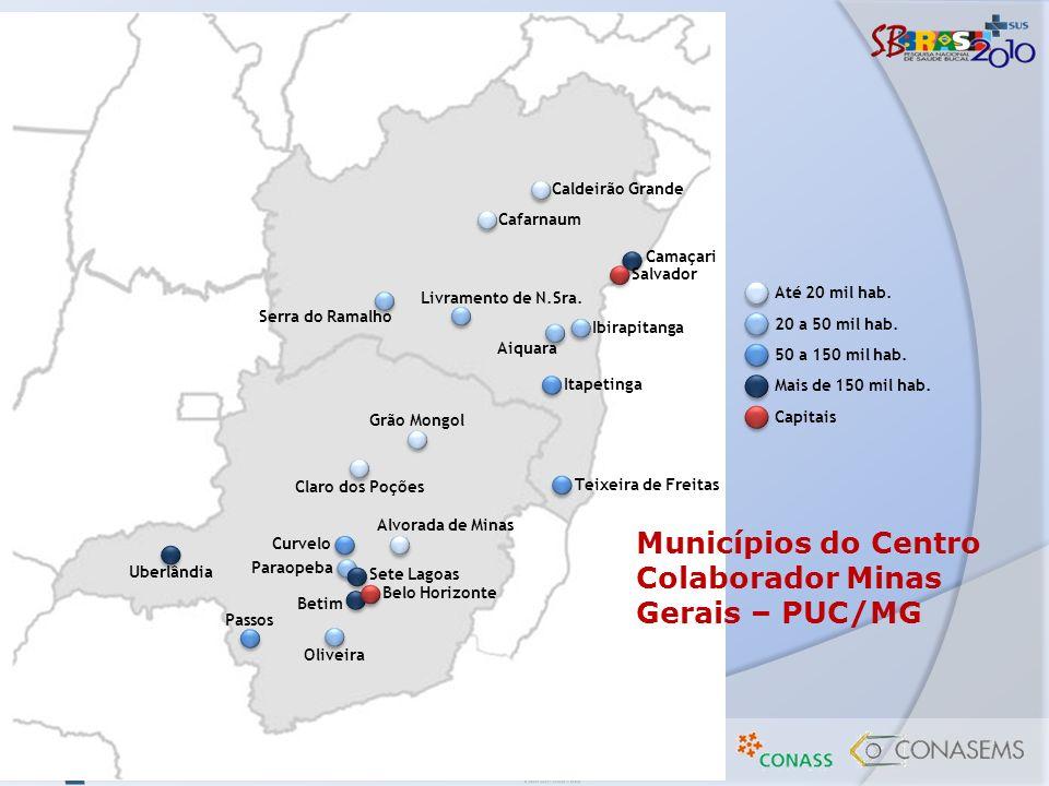 Municípios do Centro Colaborador Minas Gerais – PUC/MG