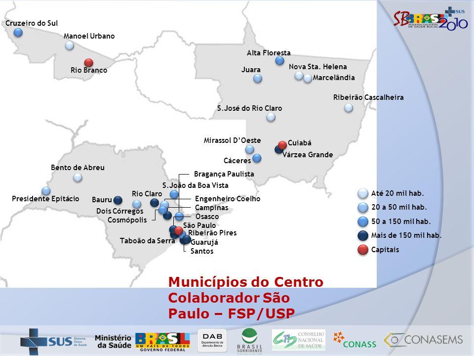 Municípios do Centro Colaborador São Paulo – FSP/USP
