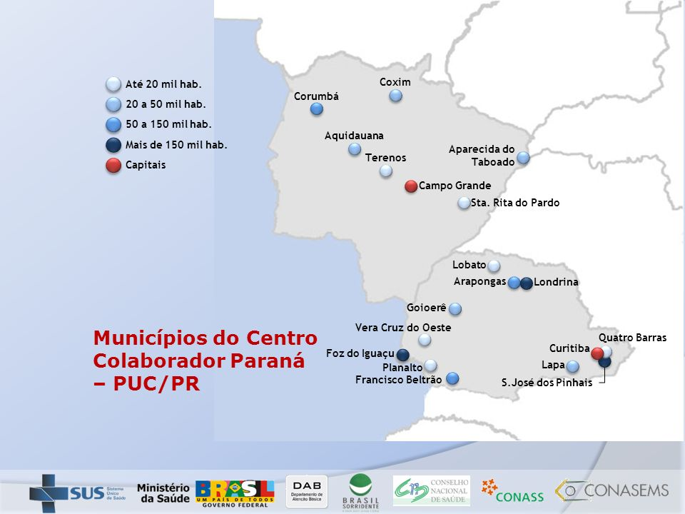 Municípios do Centro Colaborador Paraná – PUC/PR