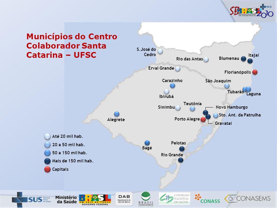 Municípios do Centro Colaborador Santa Catarina – UFSC