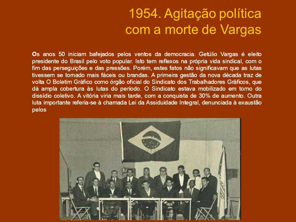 1954. Agitação política com a morte de Vargas