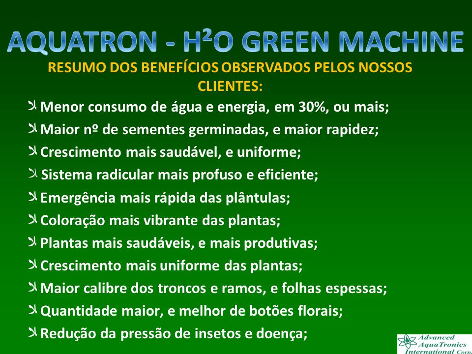 AQUATRON - H²O GREEN MACHINE