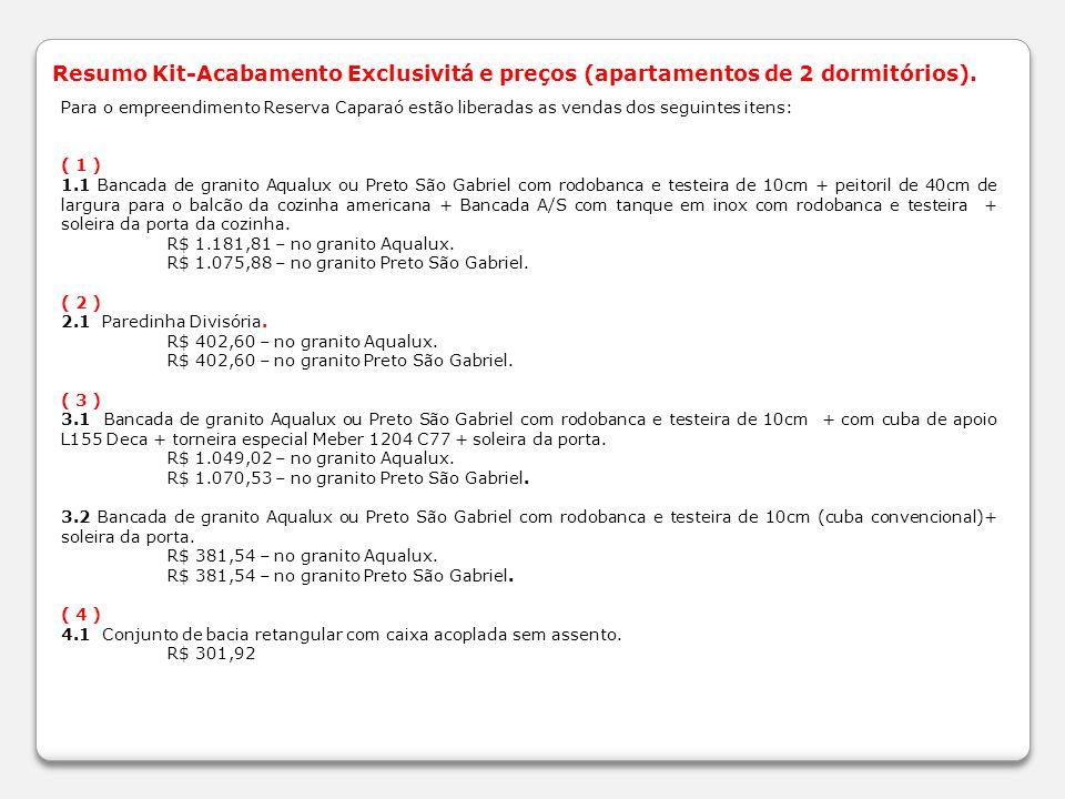 Resumo Kit-Acabamento Exclusivitá e preços (apartamentos de 2 dormitórios).