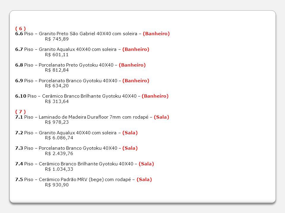 ( 6 ) 6.6 Piso – Granito Preto São Gabriel 40X40 com soleira – (Banheiro) R$ 745,89. 6.7 Piso – Granito Aqualux 40X40 com soleira – (Banheiro)