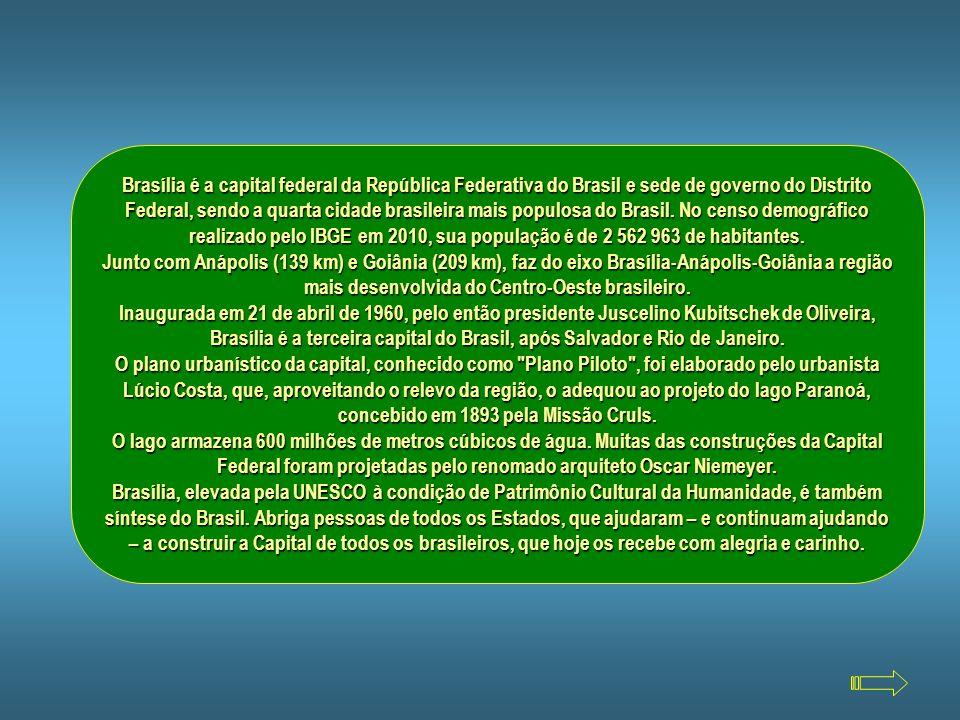 Brasília é a capital federal da República Federativa do Brasil e sede de governo do Distrito Federal, sendo a quarta cidade brasileira mais populosa do Brasil. No censo demográfico realizado pelo IBGE em 2010, sua população é de 2 562 963 de habitantes.