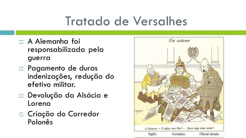 Tratado de Versalhes A Alemanha foi responsabilizada pela guerra