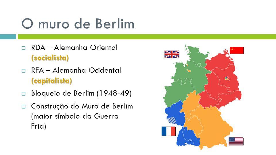 O muro de Berlim RDA – Alemanha Oriental (socialista)