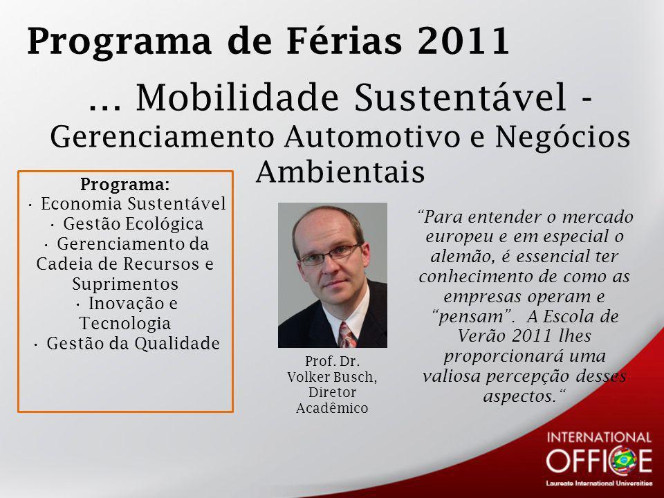 Programa de Férias 2011 … Mobilidade Sustentável - Gerenciamento Automotivo e Negócios Ambientais.