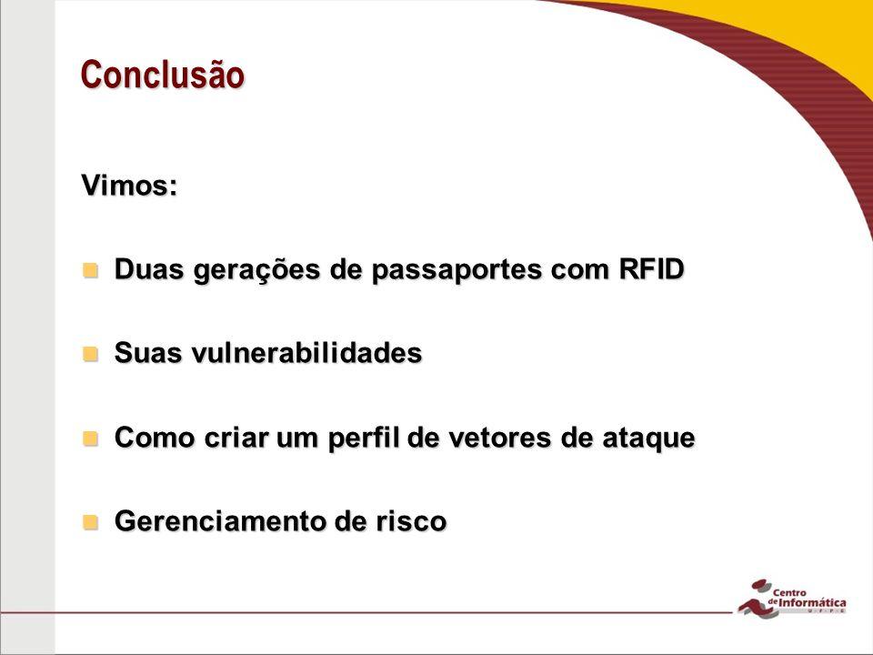 Conclusão Vimos: Duas gerações de passaportes com RFID