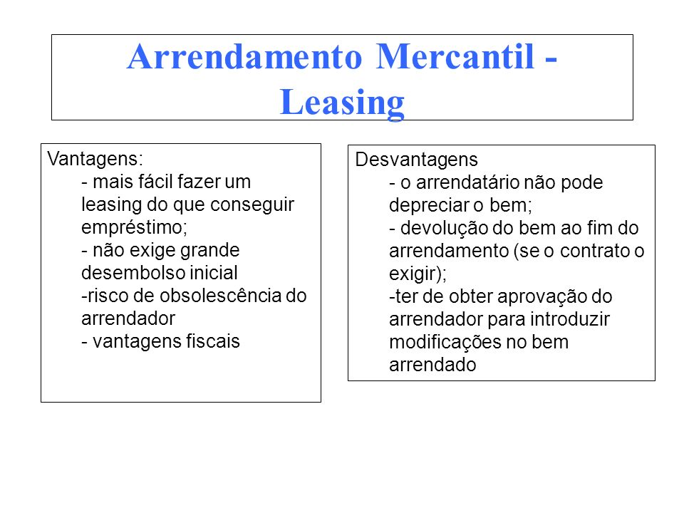 Arrendamento Mercantil - Leasing