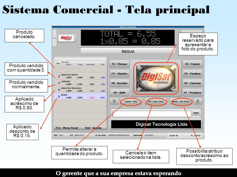 Sistema Comercial - Tela principal