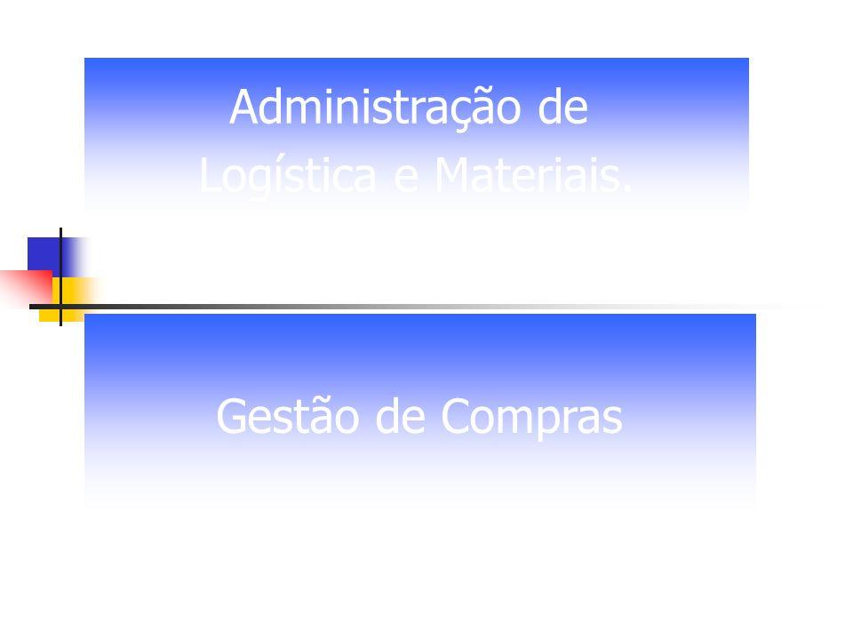 Administração de Logística e Materiais. Gestão de Compras
