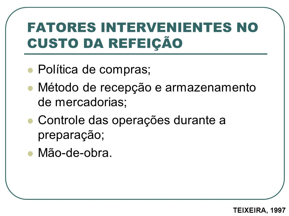 FATORES INTERVENIENTES NO CUSTO DA REFEIÇÃO