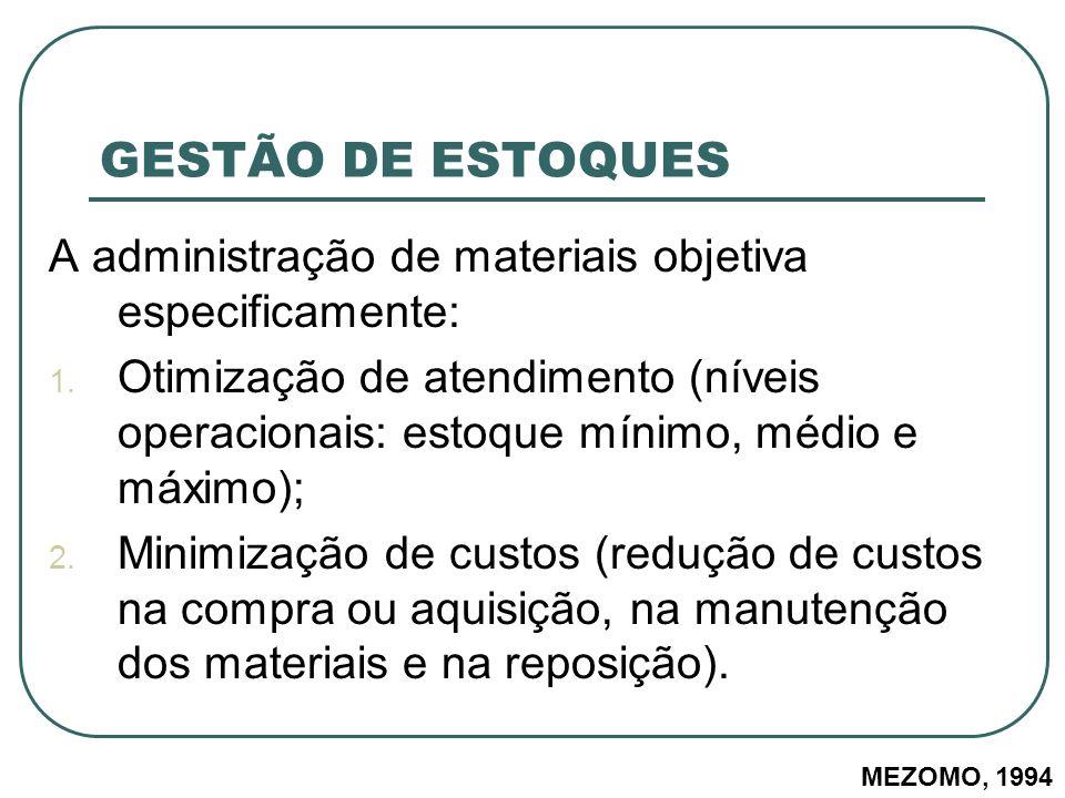 GESTÃO DE ESTOQUES A administração de materiais objetiva especificamente: